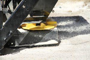 Close up of Erskine salt sand spreader attachment