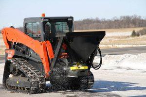 Erskine salt sand spreader attachment skid steer loader